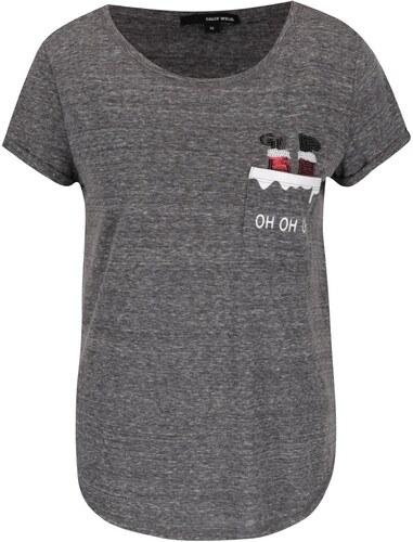 f03c809241fd Tmavosivé melírované tričko s vreckom a vianočným motívom TALLY WEiJL