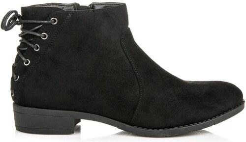 Šnurovacie semišové topánky v čiernej farbe - Glami.sk a801282b082