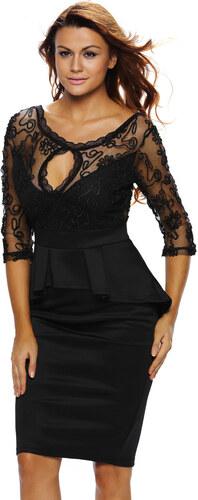 NoName Dámské společenské šaty s 3 4 rukávem vyšívané černé - Glami.cz 8842798c13