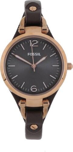 Dámské hodinky ve zlaté barvě s tmavě hnědým koženým páskem Fossil Georgia 9eddaee5b1