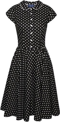 fa9a30f2c832 Černé puntíkované retro šaty s límečkem Lazy Eye Agnes - Glami.cz