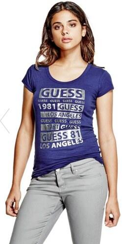 GUESS tričko Macie Glitter Logo tee modré c7175711a1b