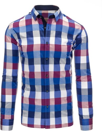 9af027b71b74 Manstyle Modro-fialová pánska košeľa kockovaná - Glami.sk