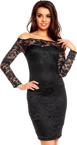 b802be4867e Dámské společenské šaty MAYAADI krajkové s dlouhým rukávem krátké černé