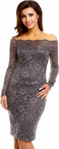 c07e8517566 Dámské společenské šaty MAYAADI krajkové s dlouhým rukávem krátké tmavě šedé