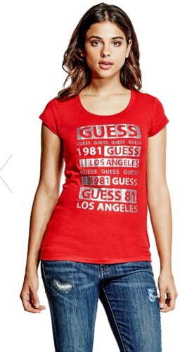 GUESS tričko Macie Glitter Logo tee červené 6c8f6723484