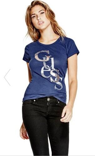 GUESS tričko Irisa Staggered Logo tee modré  e4816c9239f