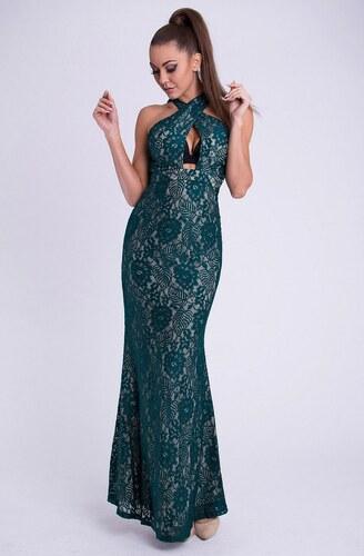 d9aefbbd4387 EMAMODA Dámské značkové dlouhé plesové společenské šaty EVA   LOLA tmavě  zelené