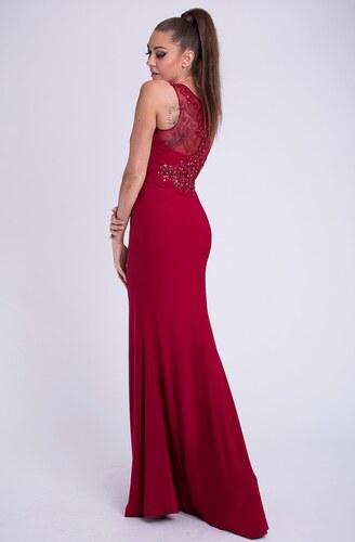 EMAMODA Dámské značkové luxusní dlouhé plesové šaty EVA   LOLA bordó ... 581e9c4241