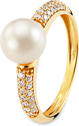 Tchibo Zlatý prsten se sladkovodní perlou z umělého chovu a zirkony ... f793e834b8e