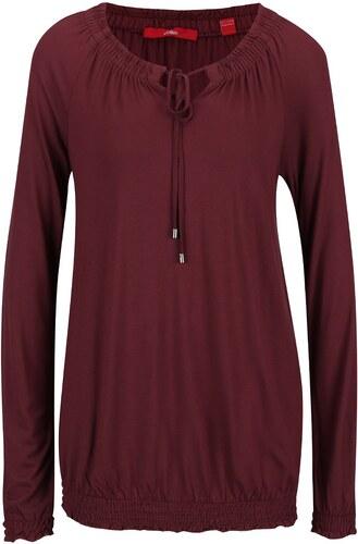 f2785694495 Vínové dámské tričko s dlouhým rukávem a zavazováním u krku s.Oliver ...