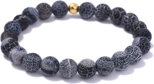 Lavaliere Náramek tmavě modrý zvětralý achát a korálek z pozlacené  chirurgické oceli - L 17 7c09a714f56