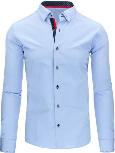 Bledě modrá košile s prošívaným límečkem - Glami.cz e8d2095249