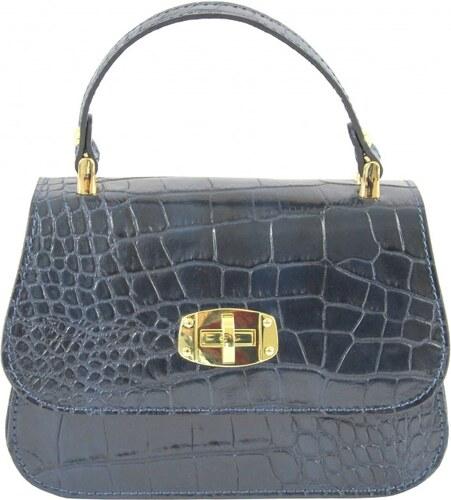 -19% Kožená luxusní menší modrá crossbody kabelka do ruky Zoe VERA PELLE  20139 60fcf4e6004