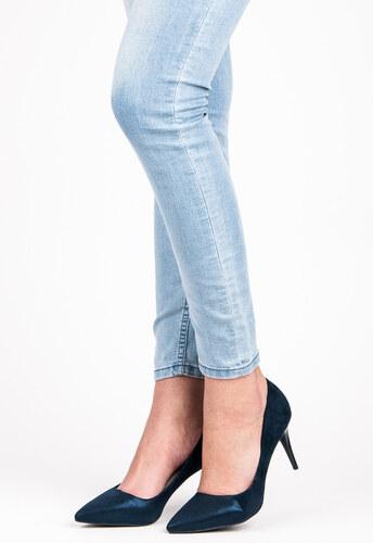 QINBA Elegantné semišové modré lodičky na ihlovom podpätku - Glami.sk 1e5f18fd83