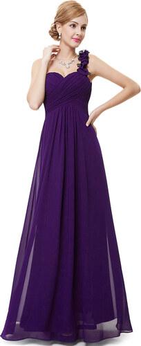 92feae348b3 Ever Pretty plesové dlouhé šaty na jedno rameno 13EVHE09768 fialová ...