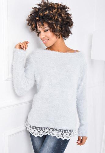 Teplý šedý sveter s dlhým rukávom - 6024 odtiene farieb  sivá - Glami.sk ebfd9622dca