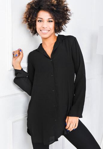 4c8273b5f9d3 Dámska dlhá čierná košeľa - 84359 odtiene farieb  čierna - Glami.sk