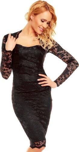 3b176cb8f87 Společenské šaty MAYAADI krajkové s dlouhým rukávem středně dlouhé černé