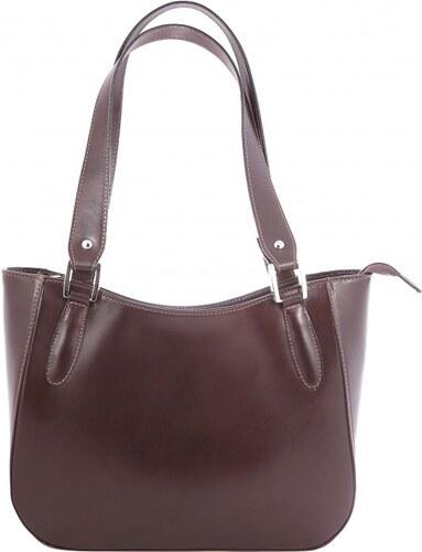 Kožená tmavě hnědá kabelka přes rameno tinian VERA PELLE 23551 ... 4e9832615a6
