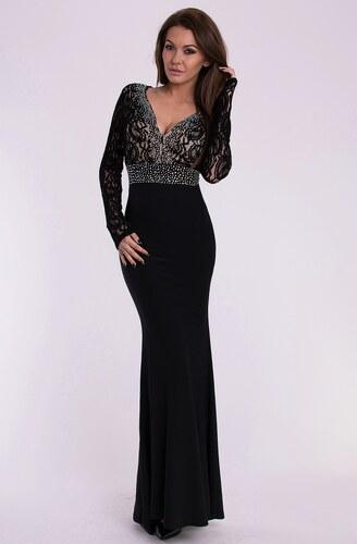 Eva   Lola dámské plesové a společenské dlouhé šaty se štrasovými kamínky  černá 05af3d07b5