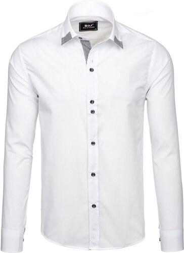 56d6c7185d14 Biela pánska elegantná košeľa s dlhými rukávmi BOLF 6952 - Glami.sk