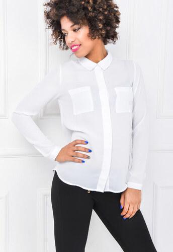 4967b1130dd4 Asymetrická dámska biela košeľa - 84523 odtiene farieb  biela - Glami.sk