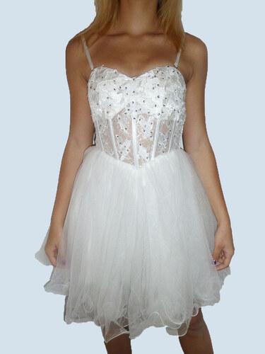 Plesové šaty - koktejlky krajkové s korzetem - bílé - Glami.cz 41a971da52