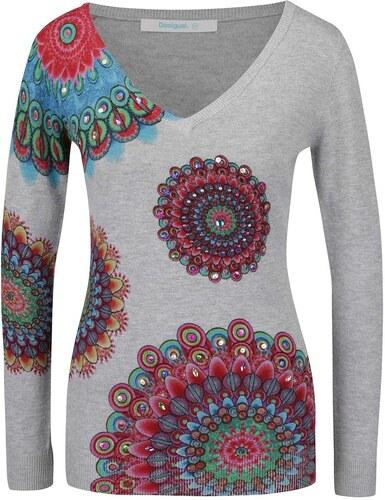 4a0a20a214fc Sivý sveter s motívom farebných mandál Desigual Valencia - Glami.sk
