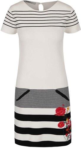Černo-krémové pruhované šaty s květinovou výšivkou Desigual Blanco ... 9db6fc928d