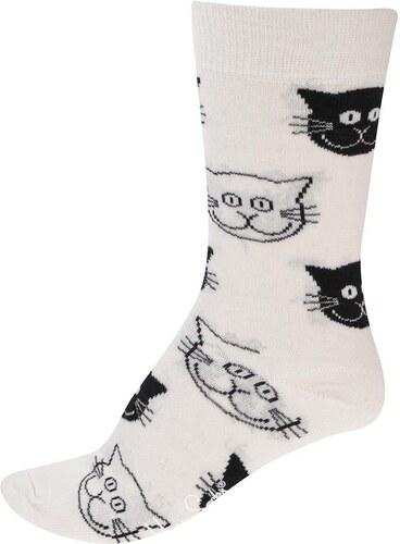 d5a2ed8c6ee Krémové dámské ponožky s kočičími hlavami Happy Socks Cat - Glami.cz