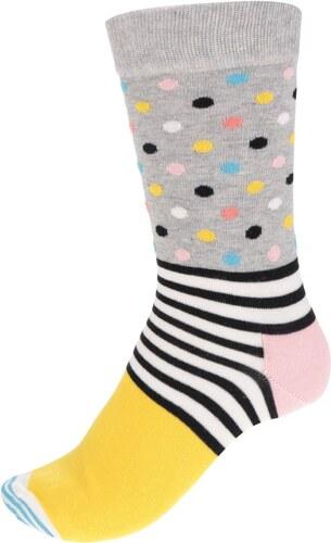 Happy Socks Žluto-šedé dámské ponožky s proužky a puntíky Stripes Dot Sock 7effb1227f