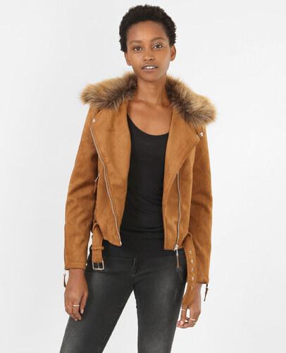 91b224a2e1c0b Veste suédine style motard Femme - Couleur caramel - Taille 36 -PIMKIE-  SOLDES HIVER 2017