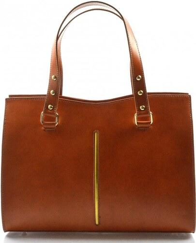 Kožená luxusní koňaková hnědá kabelka eleanora VERA PELLE 21003 ... bda56610120