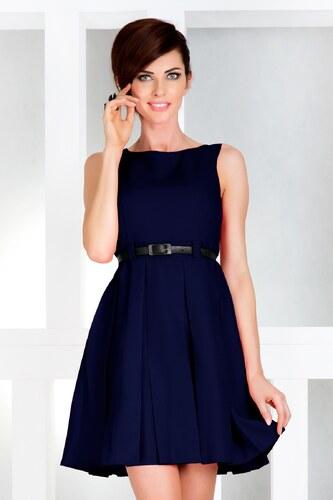 b365c12fedc numoco Dámské společenské šaty FOLD se sklady a páskem středně dlouhé tmavě  modré