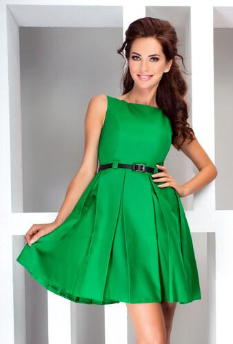 5999b004d73 numoco Dámské společenské šaty FOLD se sklady a páskem středně dlouhé zelené