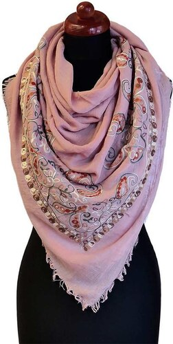 Velký bavlněný šátek 69pl004-23 - růžový s vyšitými květinami - Glami.cz 6568be49e3