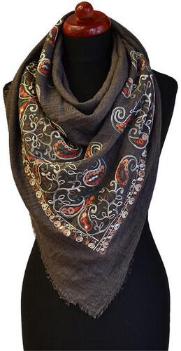 fc50fee999e Velký bavlněný šátek 69pl004-71.02 - šedý s vyšitými květinami ...