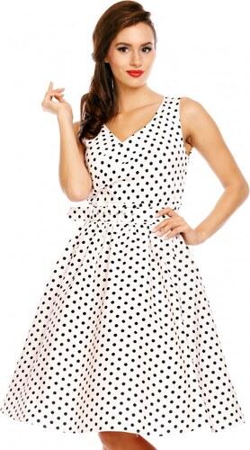 DOLLY AND DOTTY Dámské retro šaty May bílé s puntíky - Glami.cz 9882730dda