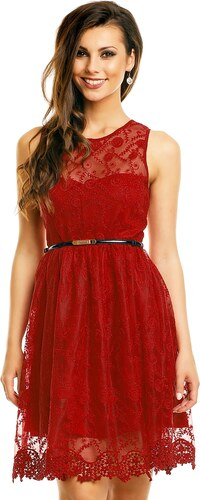 4534be92ebd5 Společenské šaty MAYAADI krajkové s páskem středně dlouhé bordó ...