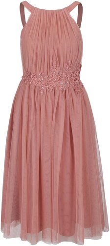 1d22d709abe7 Svetloružové tylové midi šaty s kvetovanou aplikáciou Little Mistress