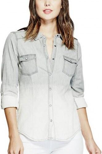 f339f48c321 Riflová košile Guess Arielle Ombre Shirt šedá - Glami.cz