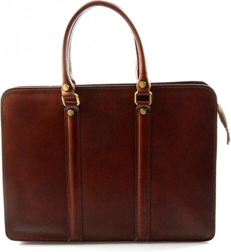 a239cab45a Kožená luxusní hnědá kabelka do ruky ester VERA PELLE 21043 - Glami.cz