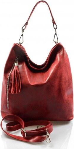 Kožená červená bordó crossbody kabelka na rameno galine VERA PELLE 21999 58c4fc00226