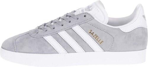 c422e81f36e Bílo-šedé dámské semišové tenisky adidas Originals Gazelle - Glami.cz
