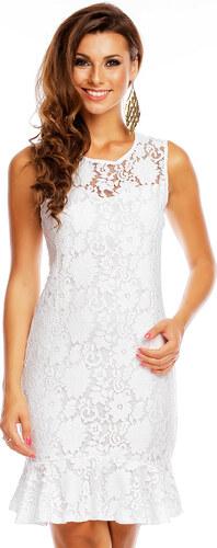 Společenské a plesové šaty značkové krajkové GRAFFITH 3897 WH krajkové bez  rukávu středně dlouhé bílé 5fb2027aaa
