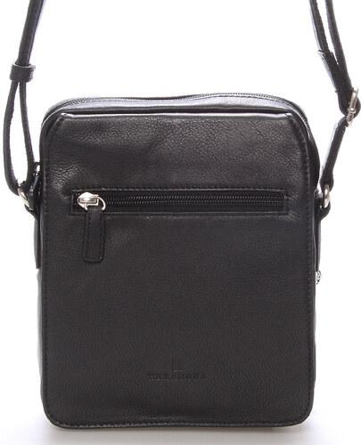 Luxusná pánska kožená taška cez rameno čierna - Hexagona Geron čierna 7851290e1cb