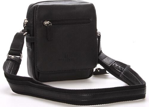Luxusní pánská kožená taška přes rameno černá - Hexagona Eriq černá ... 20bae764fb8