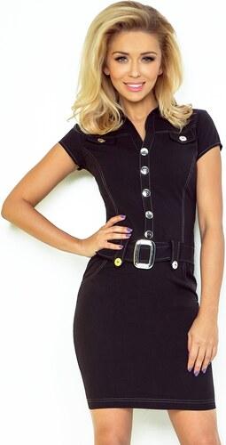 08b076ebf214 Numoco Čierne šaty s gombíkmi a opaskom 142-1 - Glami.sk