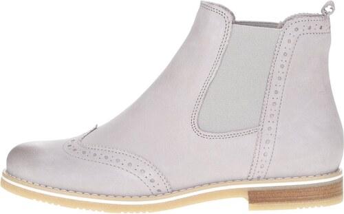 de0f212ffe40 Svetlosivé kožené chelsea topánky s brogue detailmi Tamaris - Glami.sk